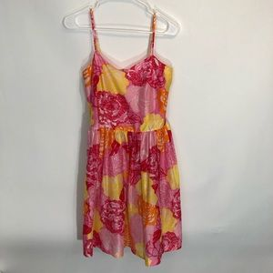 Lilly Pulizter Dress 0 Floral Silk Cotton Blend